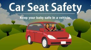 "couple riding in van with phrase ""car seat safety"" ""keep your baby safe in a vehicle"""