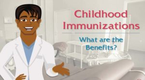 "doctor explaining with phrase ""childhood immunizations"""