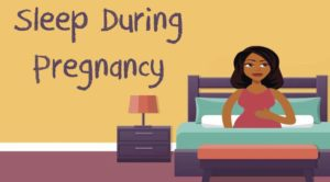 "woman sitting in bed with phrase ""sleep during pregnancy"""