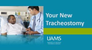 "doctor explaining chart to patient with phrase ""your new tracheostomy"""