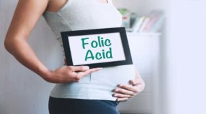"pregnant woman holding sign with phrase ""folic acid"""