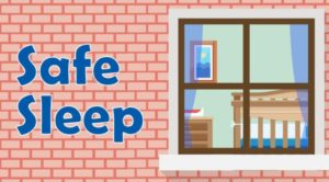 "brick wall with window and baby crib inside with phrase ""safe sleep"""
