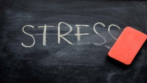"chalkboard with ""stress"" on it"