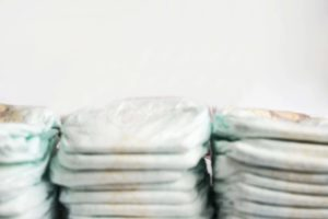 stacks of baby diapers