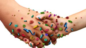 shaking hands with germs on them
