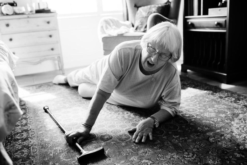 Elderly woman fell on floor
